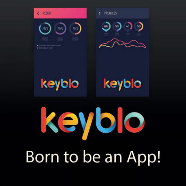 Keyblo Brand name with Mobile UI design